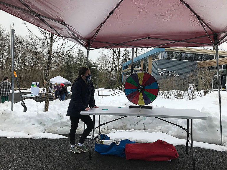 Temple Sholom held its drive-though Purim Carnival in Scotch Plains on Sunday, Feb. 28, 2021.