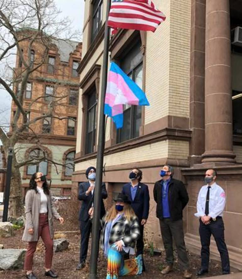 Hoboken Recognizes Transgender Day of Visibility with Flag Raising at City Hall