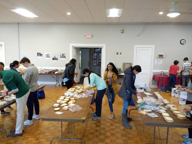 Making lunches for Bridges Outreach