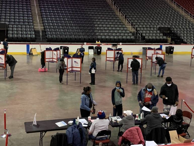 Election Day in Newark: Overload in South Ward, NJ Secretary of State Visits Prudential Site