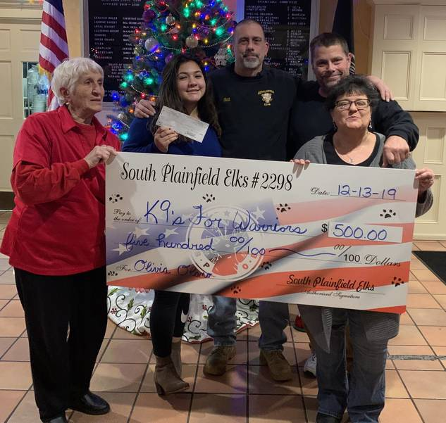 Elks Lodge 2298 donate to Noki Treats for K9s for Warriors