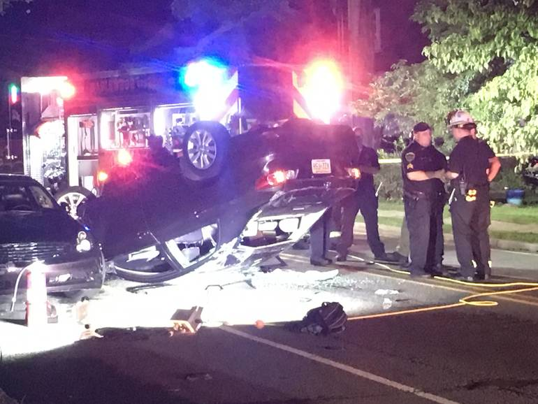 Car Overturns on Boyden Avenue on Tuesday Night