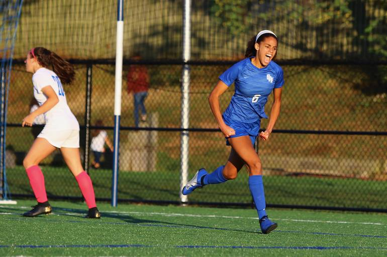 Corinne Lyght #6 of Scotch Plains-Fanwood celebrates