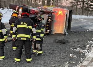 Motorist Advised to Avoid Madison Hill Road in Clark Wednesday Morning After Dump Truck Flips