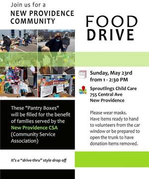 New Providence Community Food Drive Set for Sunday, May 23