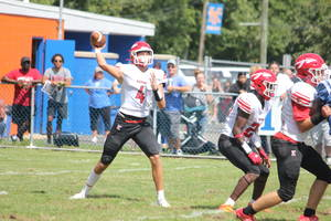 First-year Keyport quarterback George Mitchell (#4) has thrown for 346 yards and five touchdowns in two wins to open the 2021 season.