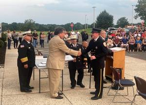 Bordentown Firefighter Honored with Achievement Award at County Fire Academy Graduation