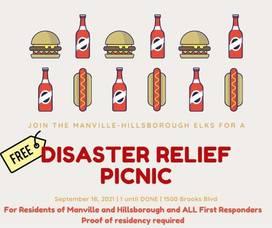 Manville-Hillsborough Elks to Host Disaster Relief Picnic in Support of Manville, Hillsborough and First Responders