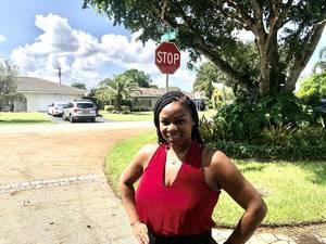 Teresa Bridges in her Coral Springs neighborhood.