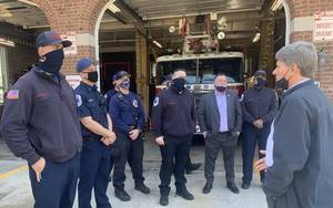 Congressman Tom Malinowski Visits Union's Fire Department, Thanking First Responders for Dedication During Pandemic