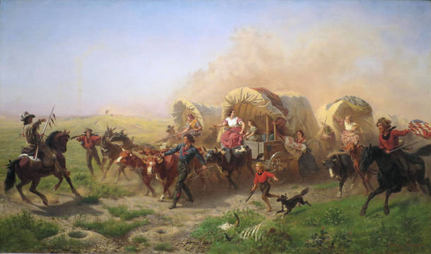 Top story 1243550f6bf2698b5962 indians attacking a wagon train by emanuel leutze  1863fxd