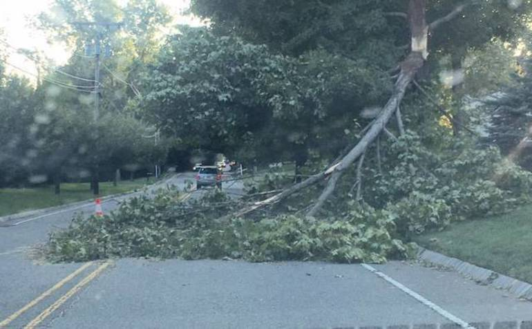 Cross Road blocked after Tropical Storm Isaisas