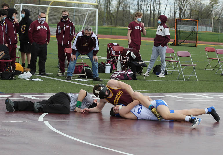 First Ever Outdoor Wrestling Match Sees Madison Overwhelm Millburn 64-18