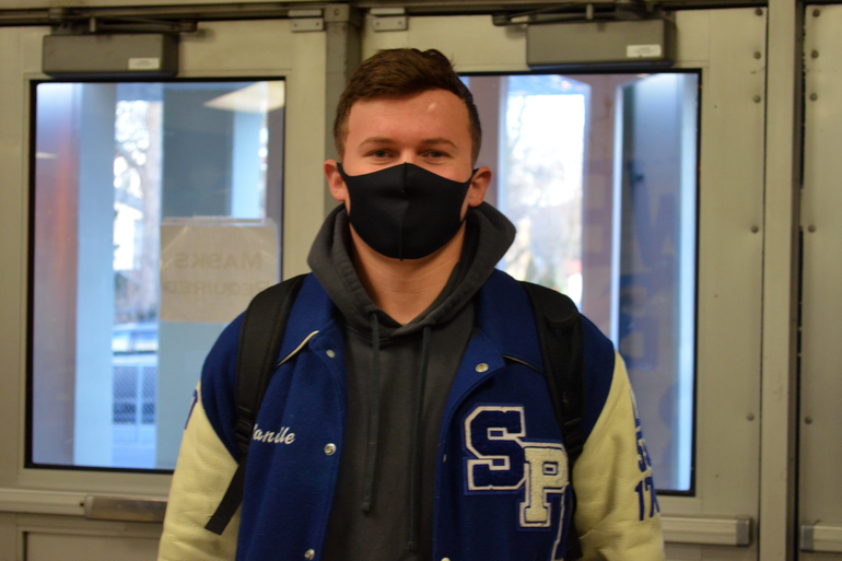 Senior Jack Manville is ready for classes at Scotch Plains-Fanwood High School.