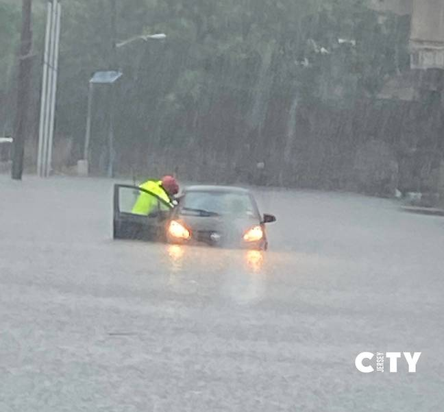 Vehicle Pushed Through Tropical Storm Fay Floodwater in Hoboken