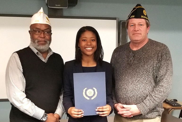 Jenna Smith with Don Channel and Kevin Burns of American Legion Post 209 in Scotch Plains.