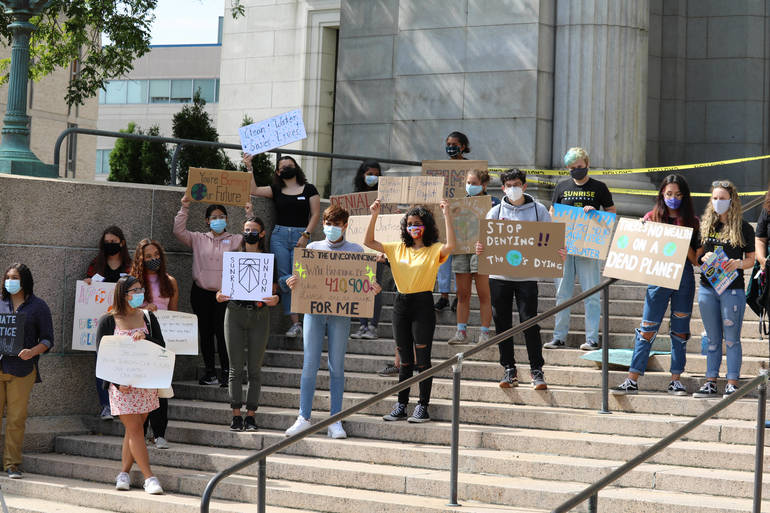 Student Environmental Activists Rally For Environmental Justice in Elizabeth