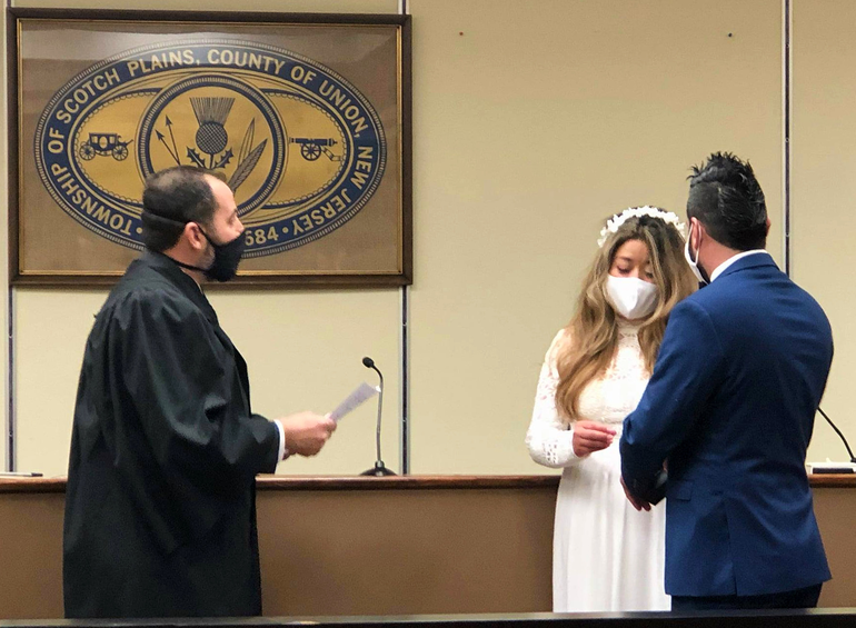 Scotch Plains Mayor Losardo officiates a wedding for the first time.