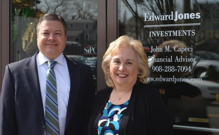 John Capeci and Jennifer Mongold at the Edward Jones Office in Fanwood.