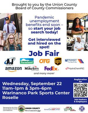 flier for job fair on September 22, 2021