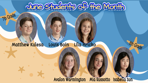 West Essex Middle School June Students of the Month are Named