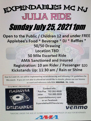 Annual Julia Ride Motorcycle Event to Benefit Piscataway Resident