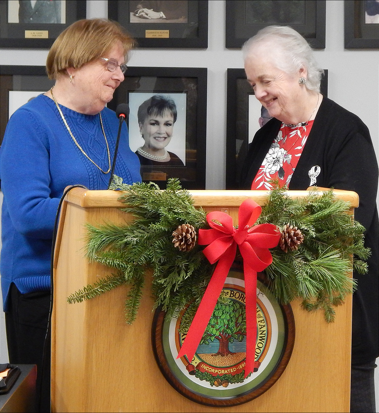 Fanwood Councilwoman Kathy Mitchell (left) and Borough Administrator Eleanor McGovern.