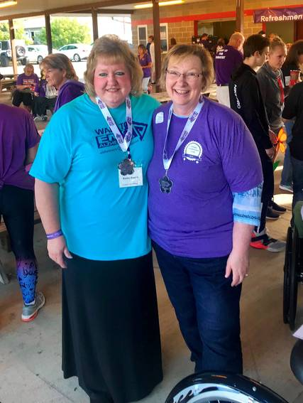 Top story 0dd909cc321304aed54d kathy bower  left   walk teammate  right  2019 sotier walk to end alz 2560