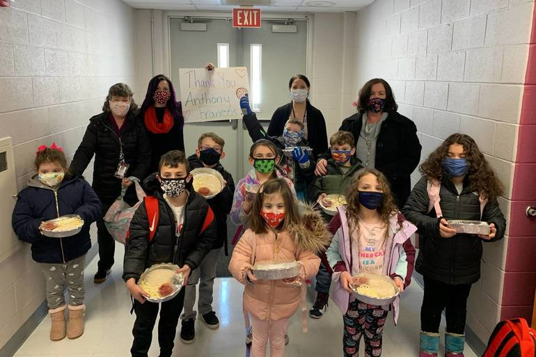 Students and Staff at Kennedy Thank Anthony Franco's in Succasunna for Pizza on National Pizza Day