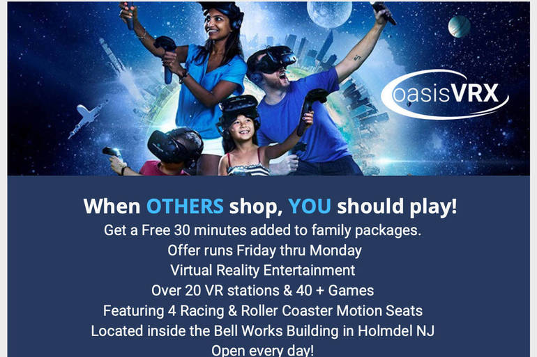 Catch Some oasisVRX Fun for the Holidays! The Ultimate VR Experience Right in Holmdel's Bell Works