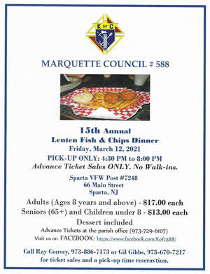 Knights of Columbus 15th Annual Lenten Fish and Chips Dinner