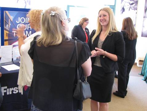 Top story 11129f92131b72130d5b kyersten geiger speaks to a career fair attendee