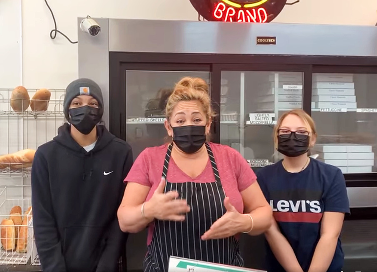 Laurel DeFelippo Turchin and staff at Florence Ravioli in Scotch Plains