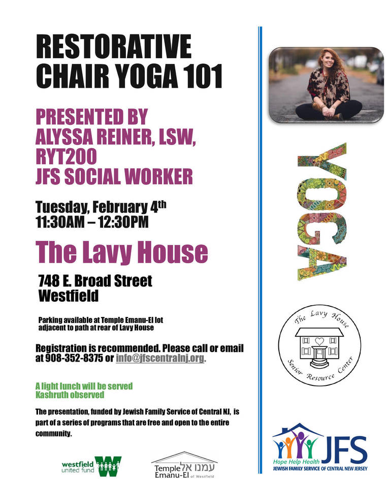 Restorative Chair Yoga 101 to be Presented at The Lavy House Feb. 4