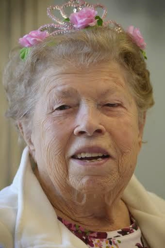 Laura Teste at her 100th birthday, which she celebrated with members of the Fanwood Seniors Club