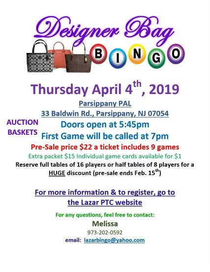 6aaf9e68a7 Designer Bag Bingo Sponsored by Lazar PTC to Benefit Living Lessons ...