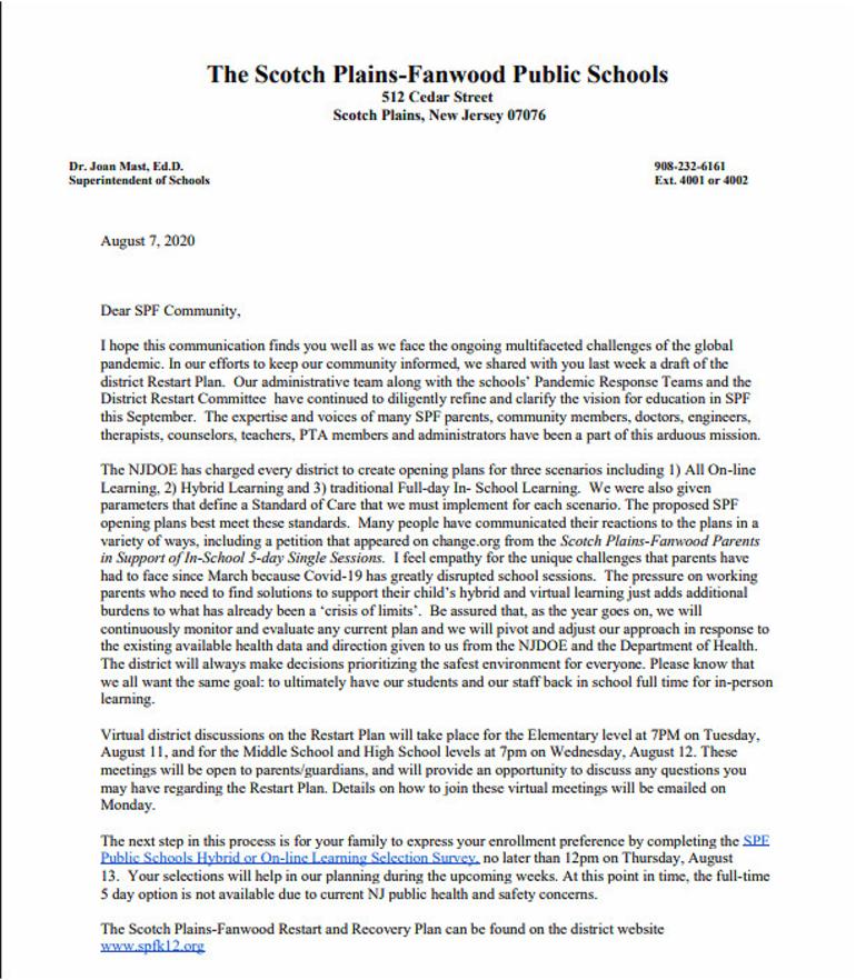 Letter from Scotch Plains-Fanwood School K-12 District superintendant Dr. Joan Mast.