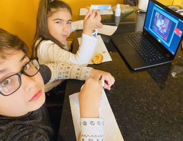 Leo and Ella Labat enjoy movie and a muffin