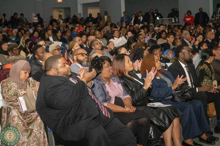 NJ State Lt. Governor Sheila Y. Oliver and East Orange Council Chair Chris James on the Front Row