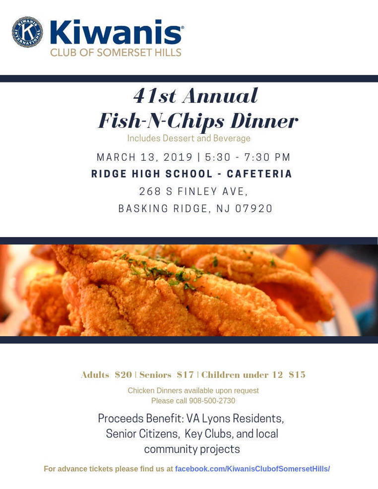 Kiwanis Club of Somerset Hills 41st Annual Fish-N-Chips Dinner - TAPinto
