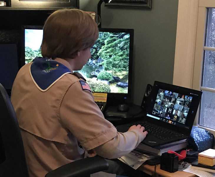 Life Scout Jonathan B participating in T150 virtual Troop meeting.jpeg