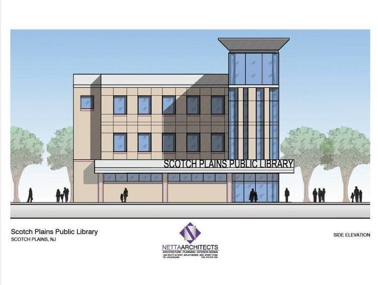 Scotch Plains Library rendering side view.