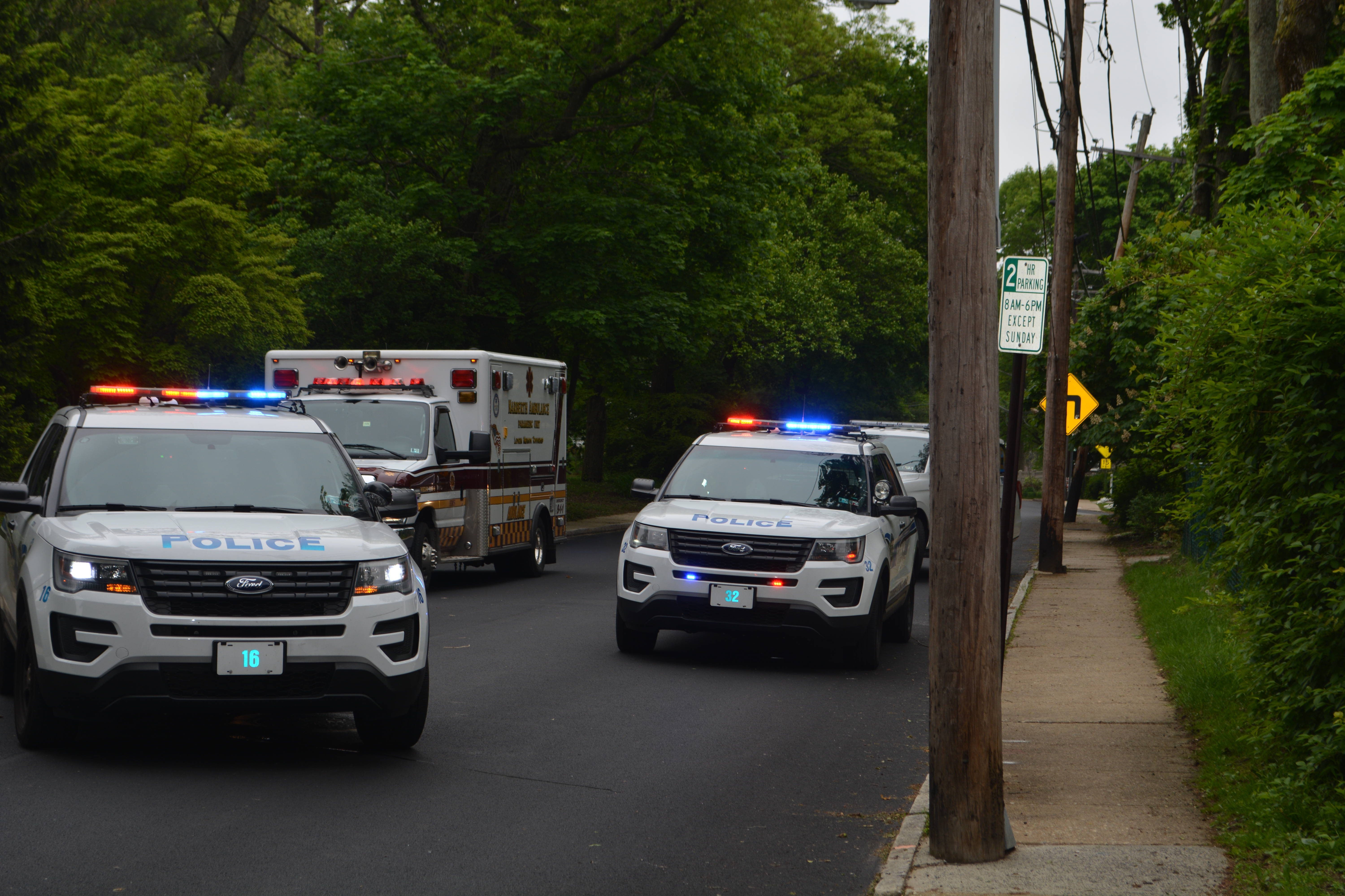 Lower Merion Township Police LMPD 3 Cruisers and Narberth Amb in Bryn Mawr.JPG