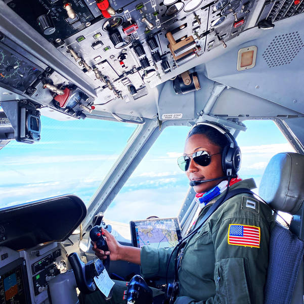 Lt Commander Angles Hughes at Controls of US Coast Guard Aircraft -HR-BB-1.jpg