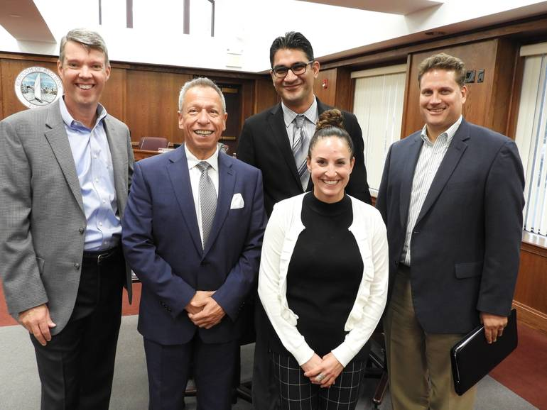 (l to ): RBRA Chairman David Huber, Ken Roberts, CEO of the Government Strategy Group, Pradeep Kapoor, DMR Architects, Mark Lescavage, Maser Consulting and  Shannon ARH Associates.jpg