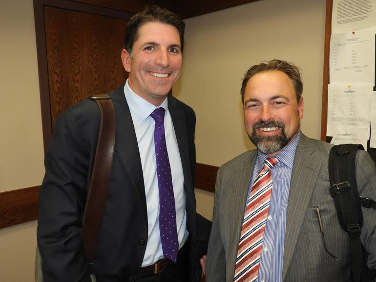 (l to r): Matt Jessup, Redevelopment Counsel with McManimin, Scotland & Baumann law firm, and Mike Handy, NW Financial Group.jpg