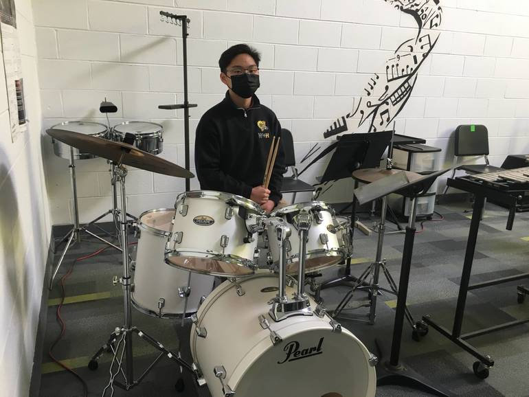 Luke Tan received a top rating for both jazz drum set and snare drum.