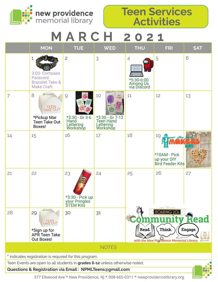 March Programming at the NP Library