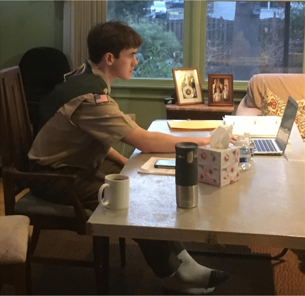 Malcolm Kahora, a senior at Scotch Plains-Fanwood HS,  became the first Patriots Path Council Eagle Scout to conduct his Board of Review virtually.