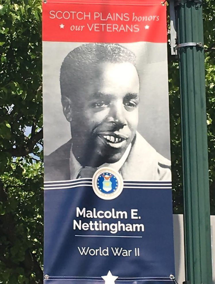 Malcolm Nettingham's Hometown Heroes banner in downtown Scotch Plains 2020.